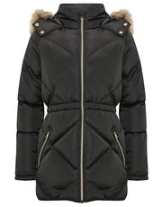 Padded faux fur trim hooded coat