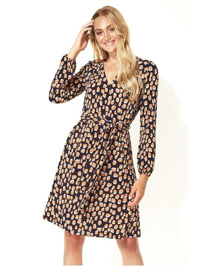 Roman Originals abstract print fit and flare wrap dress