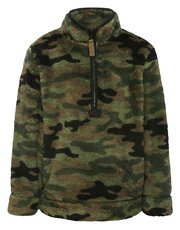 Camouflage print half zip fleece
