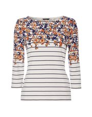 Roman Originals stripe floral 3/4 sleeve top