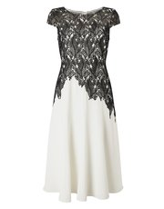 Jacques Vert leaf lace top crepe soft dress
