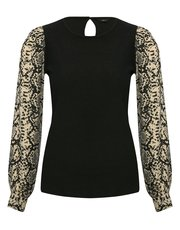 Snake print sleeve top