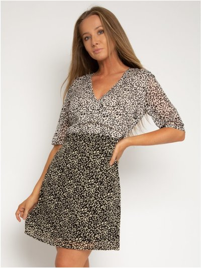 StylistPick animal print woven wrap dress