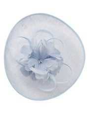 Pale blue feather flower fascinator