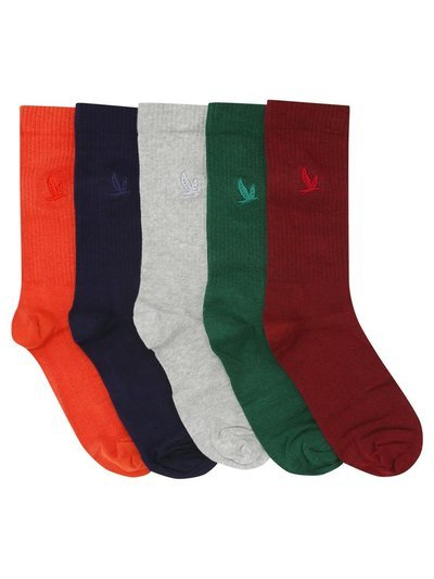 Bird embroidered fine rib socks five pack