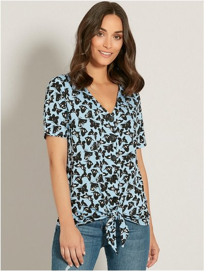 Butterfly print button tie front top