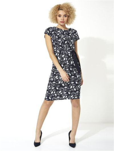 Roman Originals leaf print side tie dress