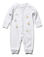 Digger embroidered stripe sleepsuit (Newborn-18mths)