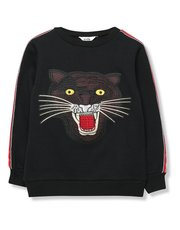 Embroidered panther sweatshirt