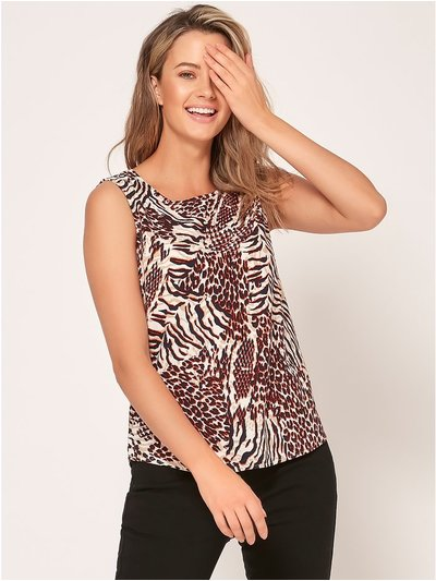 Petite animal print linen top