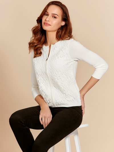 Lace front zip up cardigan