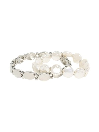 Pearl and silver stretch bracelet set