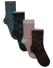 Dinosaur and stripe socks four pack