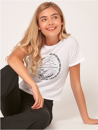 Teen keep the sea plastic free slogan t-shirt