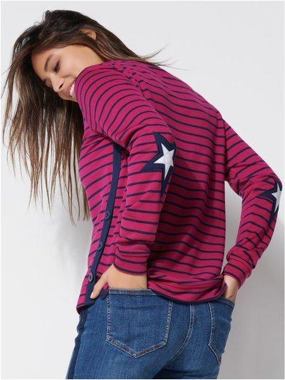 Khost clothing star elbow patch striped t-shirt