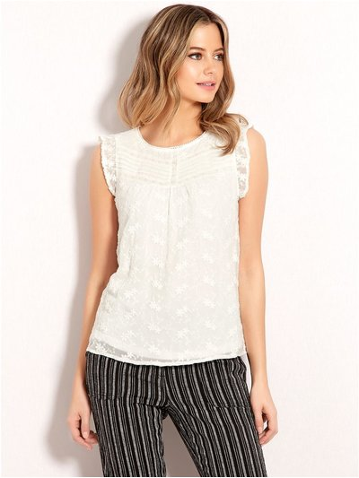Petite embroidered pintuck blouse