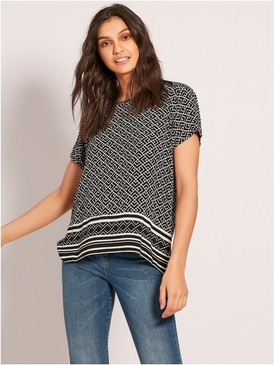 JDY geometric monchrome top