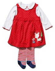 Red pinny dress bodysuit and tights set