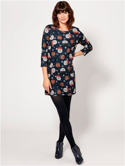 Christmas print soft touch tunic dress