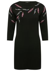 Feather embroidered tunic dress