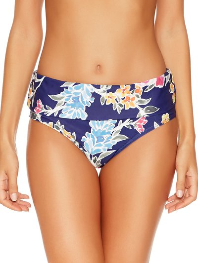 Purple floral roll over bikini bottoms