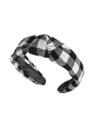 Black and white checked knot aliceband