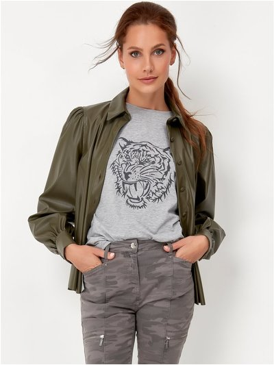 Sonder Studio blouson sleeve faux leather shirt