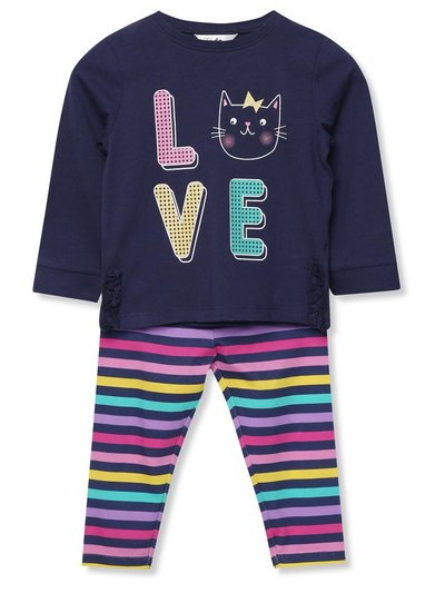 Cat slogan top and leggings set (9 mths - 5 yrs)
