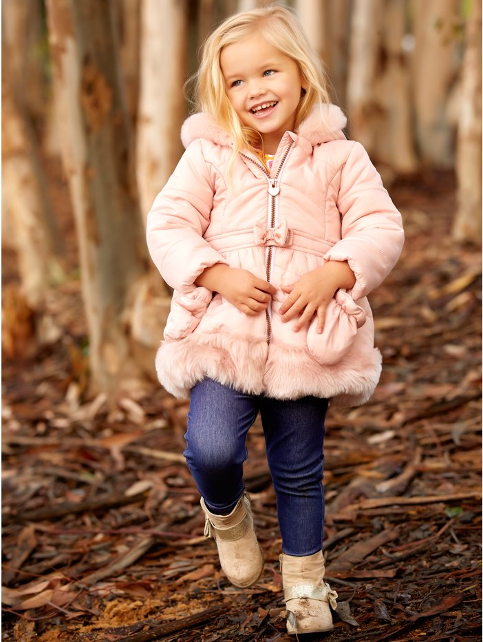 0b70347d7c1a Bow Faux Fur Trim Coat With Mitts
