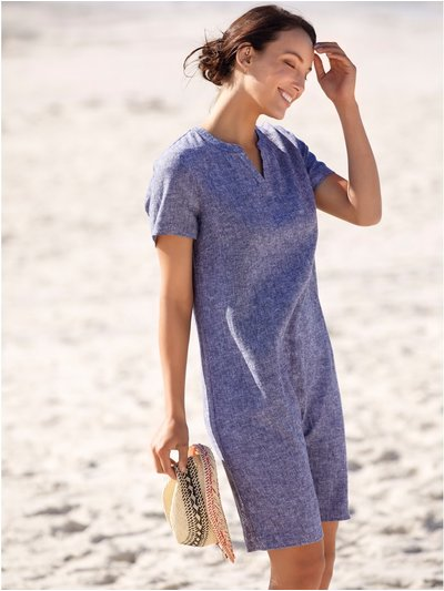 Crosshatch linen shift dress