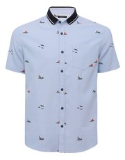 Boat print polo collar shirt