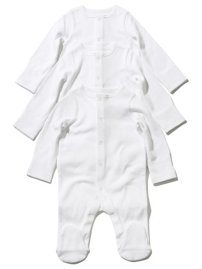Plain white sleepsuit three pack (Tiny baby - 18 mths)
