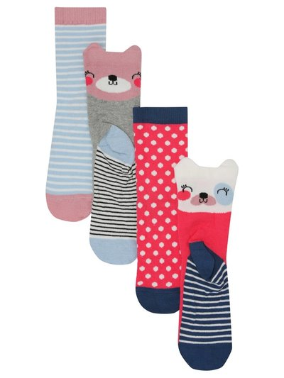 3D animal spot and stripe socks four pack