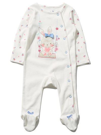 Floral bunny sleepsuit