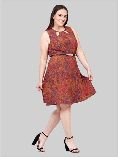 Izabel Curve leaf print skater dress