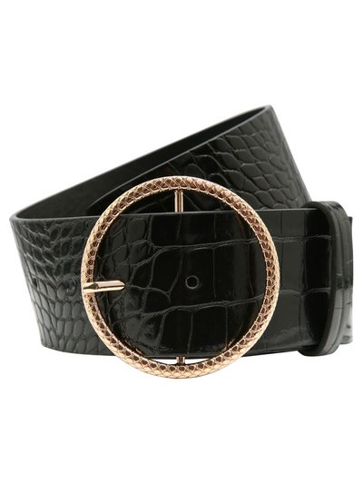 Wide croc belt with circle buckle