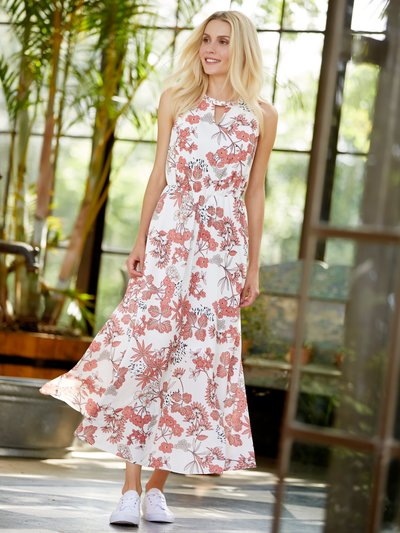 Petite floral print keyhole neck maxi dress