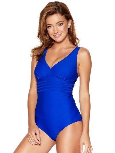 Plain blue tummy control stripe swimsuit