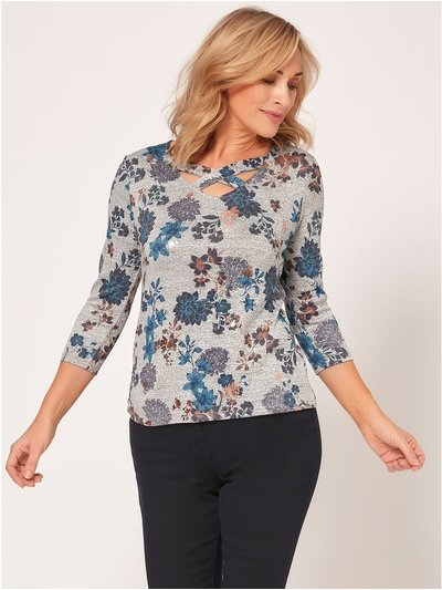 Spirit Floral foil print lattice top