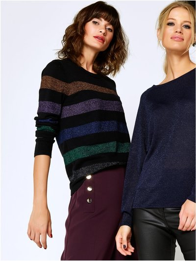 Metallic stripe jumper