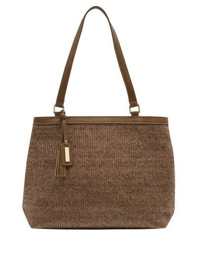 Lurex straw shopper bag