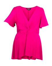 Scarlett and Jo plus dip hem knot front tunic