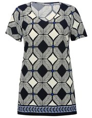 Plus tile print border tunic top