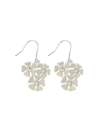 Enamel triple flower drop earrings