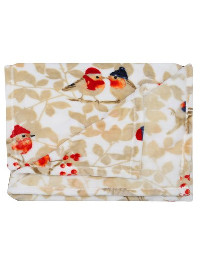Robin print fleece throw