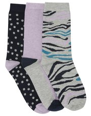 Zebra print socks three pack