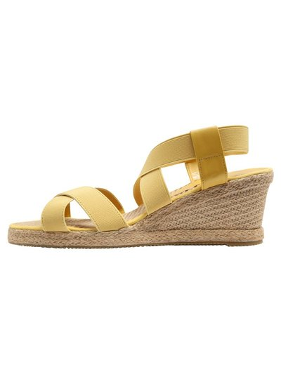 Shell elastic strap espadrille wedge