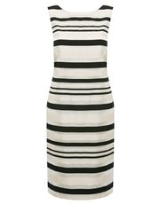 Jacquard stripe shift dress