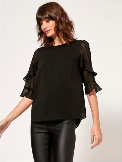 Dobby sheer sleeve top