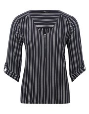 Petite zip front striped shirt